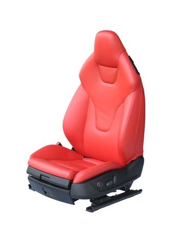 asiento coche: Cuero del asiento de coche de lujo aislado sobre fondo blanco
