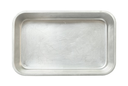 Metal baking pan isolated on white background photo