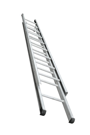 Aluminum stepladder isolated on white background Stock Photo