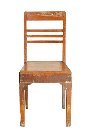 isolated chair: Vintage wooden chair isolated on white background Stock Photo