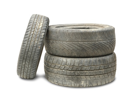junk car: Old Tire isolated on white background Stock Photo