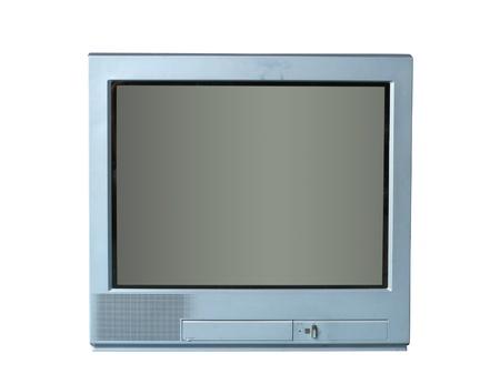 television antigua: Tv viejo aislado en el fondo blanco Foto de archivo
