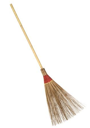 Bamboo broom isolated on white background Standard-Bild