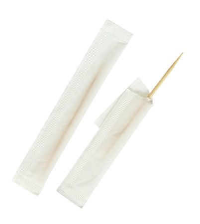 Bamboo toothpick in bag isolated on white background photo