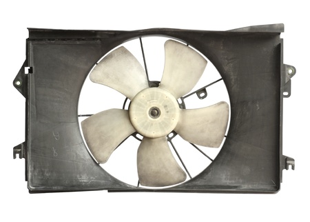 Radiator cooler fan isolated on white background photo