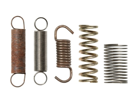 Steel spring collection isolated on white background photo