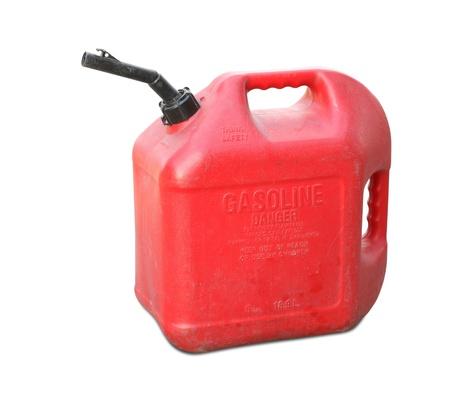 Benzine tank geïsoleerd op een witte achtergrond Stockfoto