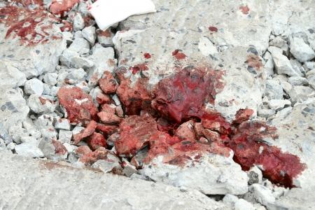 ground floor: Real blood on the crack floor Stock Photo
