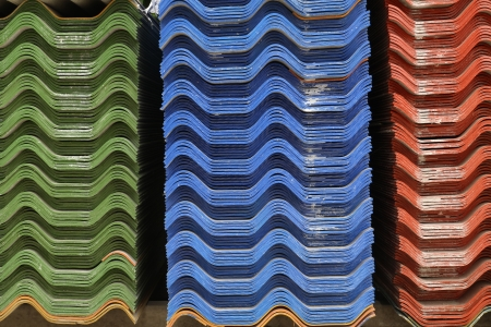 Stack of asbestos roof in warehouse Stock Photo - 18961196