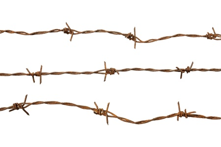 Rusty barb wire isolated on white background Stock Photo - 18961192
