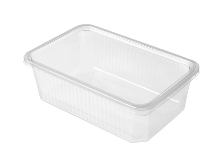Plastic food box isolated on white background