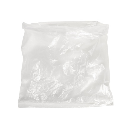 Plastic bag isolated on white background photo