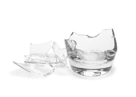 broken glass: Broken glass isolated on white background Stock Photo