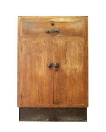Vintage wooden cabinet isolated on white background Stock Photo - 19503850