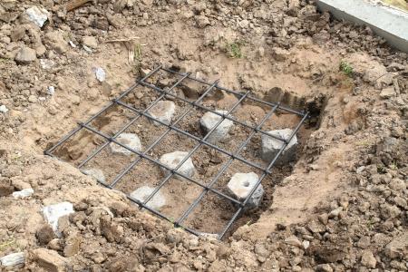 cement pile: Building foundation under construction
