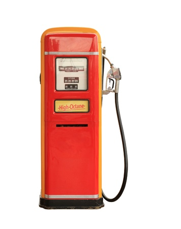 refuel: Vintage gasoline pump isolated on white background