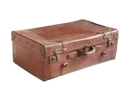 Vintage leather luggage isolated on white background photo