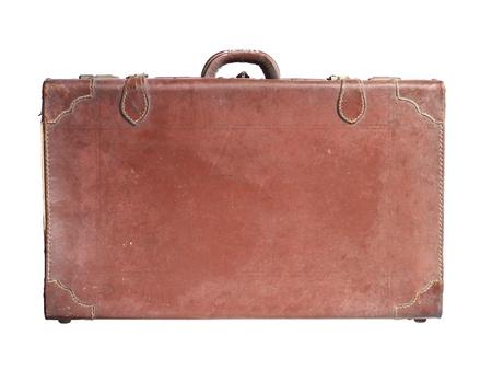 portmanteau: Vintage leather luggage isolated on white background