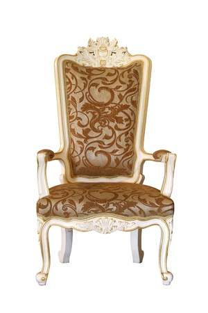 antique furniture: White luxury armchair isolated on white background Stock Photo