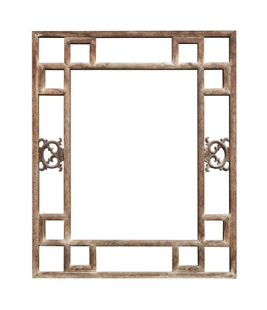 Vintage Window Frame Chinese Style With Clipping Path Isolated