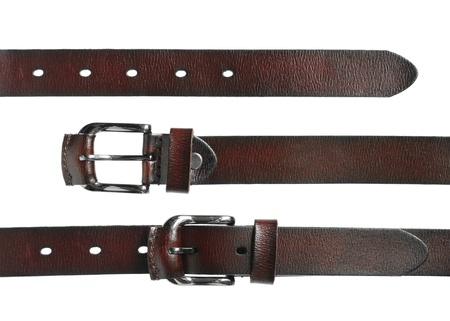 waistband: Leather belt for men isolated on white background
