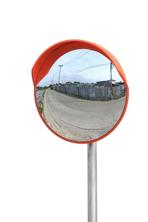 Convex mirror isolated on white background
