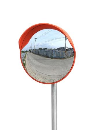 Convex Spiegel auf weißem Hintergrund isoliert Standard-Bild - 21718792