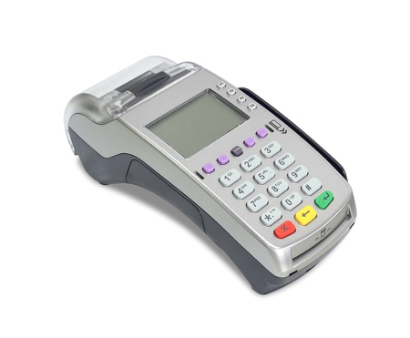 card payment: Credit card machine (with clipping path) isolated on white background