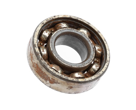 ball bearing: Rusty ball bearing isolated on white background