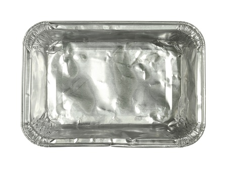 Foil tray isolated on white background photo