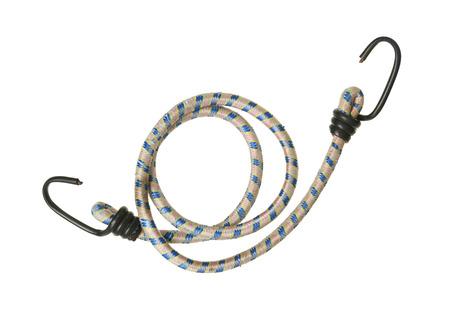 elasticidad: Cuerda elástica con ganchos aislados en fondo blanco Foto de archivo