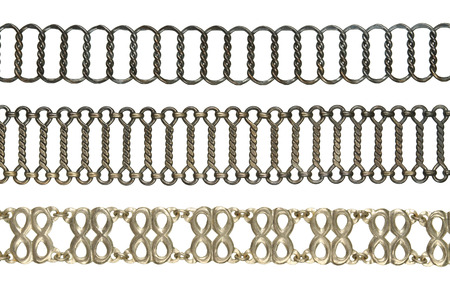 Vintage chain belt collection isolated on white background photo