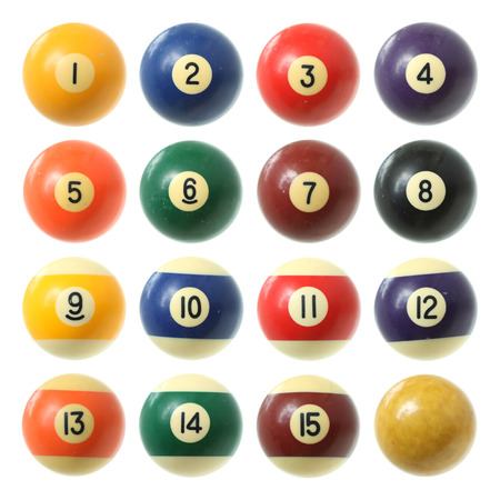 4 7: Billiard balls (pool balls) set isolated on white background