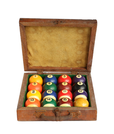 Billiard balls (pool balls) in wooden box isolated on white background photo