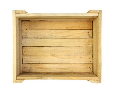 白で隔離される木製の箱