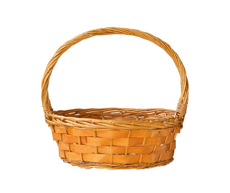 empty basket: Wicker gift basket isolated on white background
