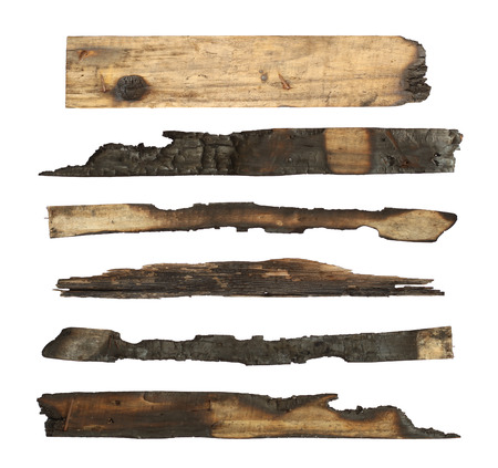 charred: Charred wood plank isolated on white background