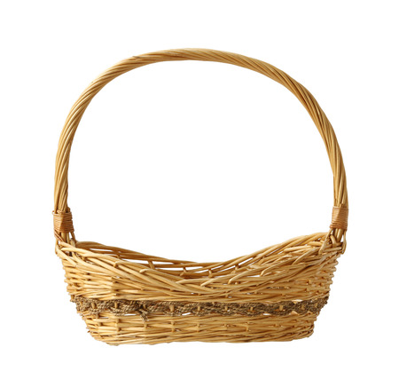 hand basket: Wicker gift basket isolated on white background