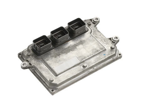 Engine control unit (ECU) isolated on white background 스톡 콘텐츠