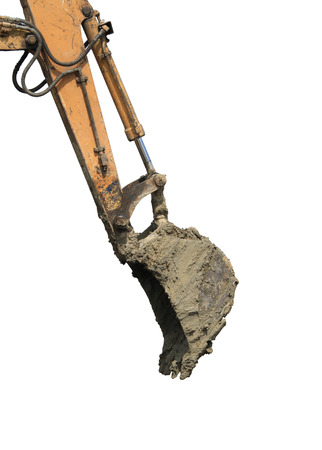 Backhoe arm with bucket isolated  photo