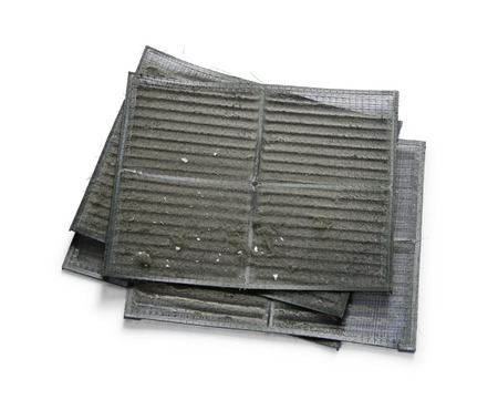 Air conditioner filter with dirty dust isolated on white background