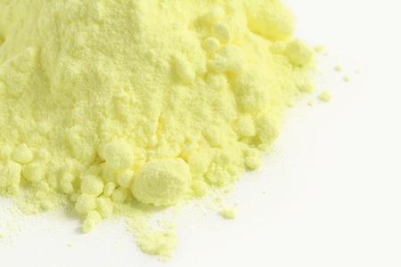 Sulfur powder on white background