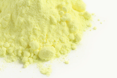 sulfur: Sulfur powder on white background