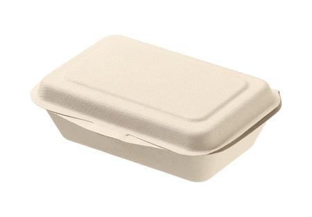 Ungebleicht Pflanzenfasern Lebensmittel-Box isoliert auf weißem Hintergrund Standard-Bild - 31399939
