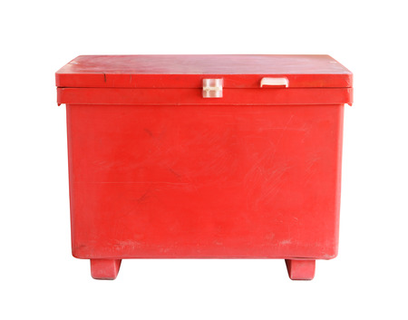 plastic box: Large cooler box (with clipping path) isolated on white background Stock Photo