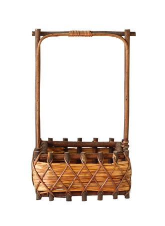 Wicker gift basket isolated on white background photo