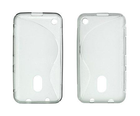 the case: Mobile phone case (with clipping path) isolated on white background Stock Photo