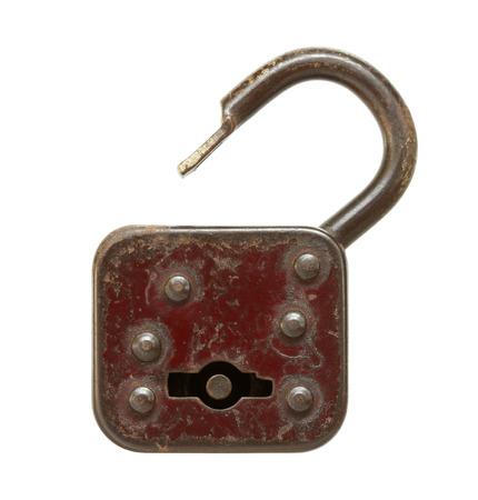 Vintage padlock (unlocked) isolated on white background photo