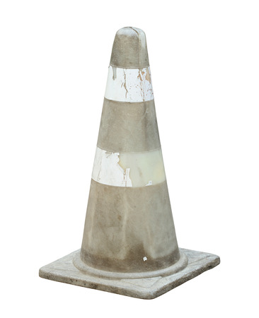 differentiate: Colorless traffic cone (with clipping path) isolated on white background Stock Photo