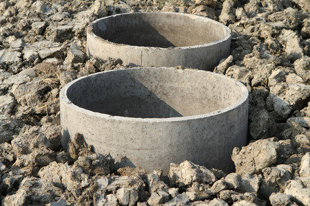 tanks: Concrete septic tanks under construction Stock Photo